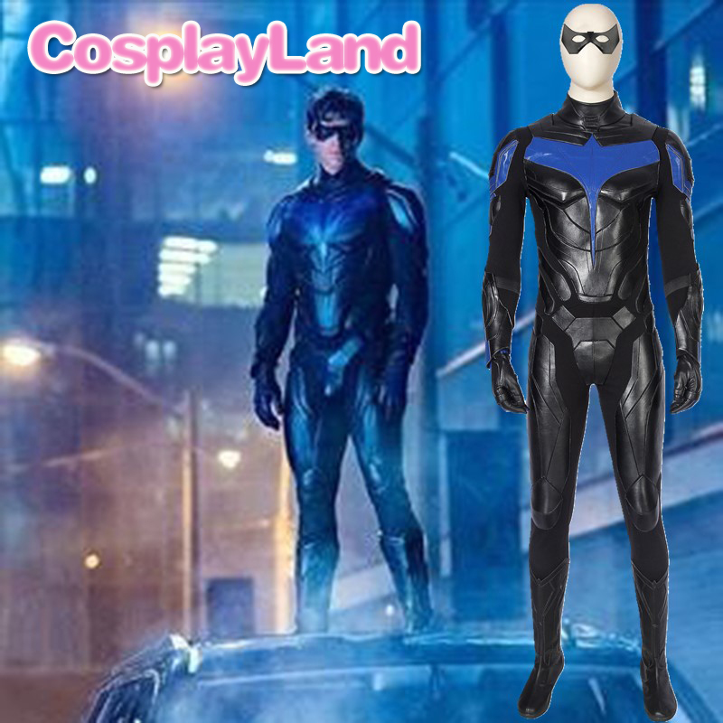 Titans Nightwing Cosplay Costume Carnival Halloween Cosplay Dick Grayson Jumpsuit Superhero Robin Outfit Fancy Men Costume