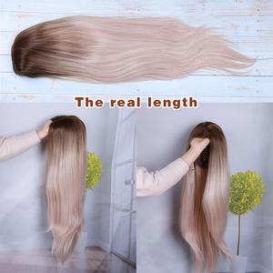 Image 5 - Wignee ロングストレート髪の中部合成かつらオンブルベビー灰ブロンド/ピンク/レッド/ブラウン/ブルーナチュラル毛女性かつら