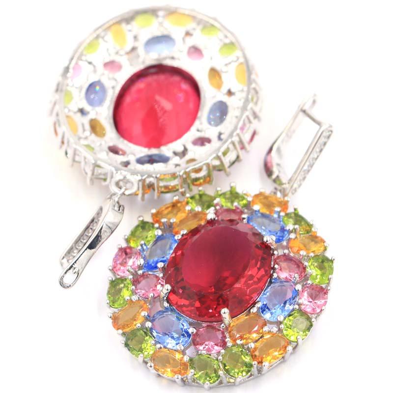 55x33mm Multi Color Long Big Heavy 23 1g Tourmaline Citrine Peridot Violet Tanzanite CZ Silver Earrings in Earrings from Jewelry Accessories