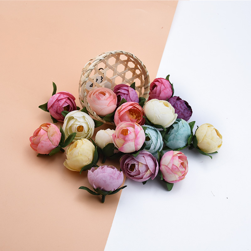 10/20 Pieces 4CM Tea Roses Head Scrapbooking Wedding Bridal Accessories Clearance Christmas Decor For Home Artificial Flowers