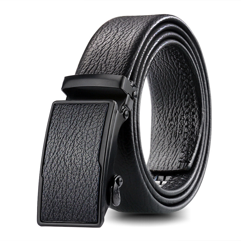 Men's Bark Texture Automatic Buckle Belt Young People Black Simple Buckle Highgrade Luxury Business Belt Ceinture Homme 3.5cmp56