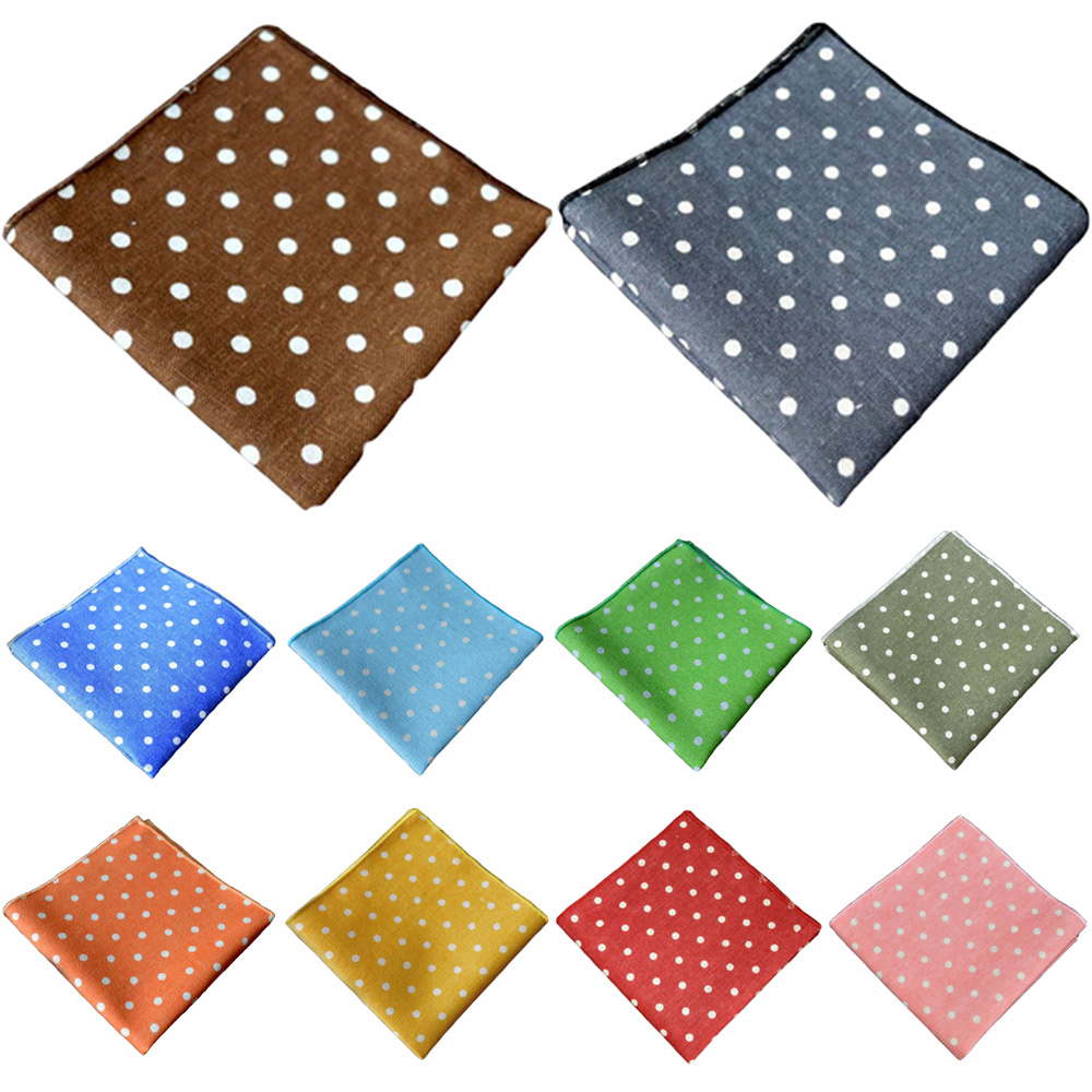 Men White Polka Dots Handkerchief Hanky Wedding Party Men's Suit Pocket Square BWTYX0324