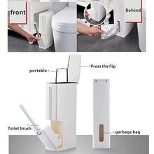 Poubelle en plastique avec brosse de toilette, poubelle mince de salle de bains, brosse de nettoyage multifonctionnelle, poubelle de cuisine