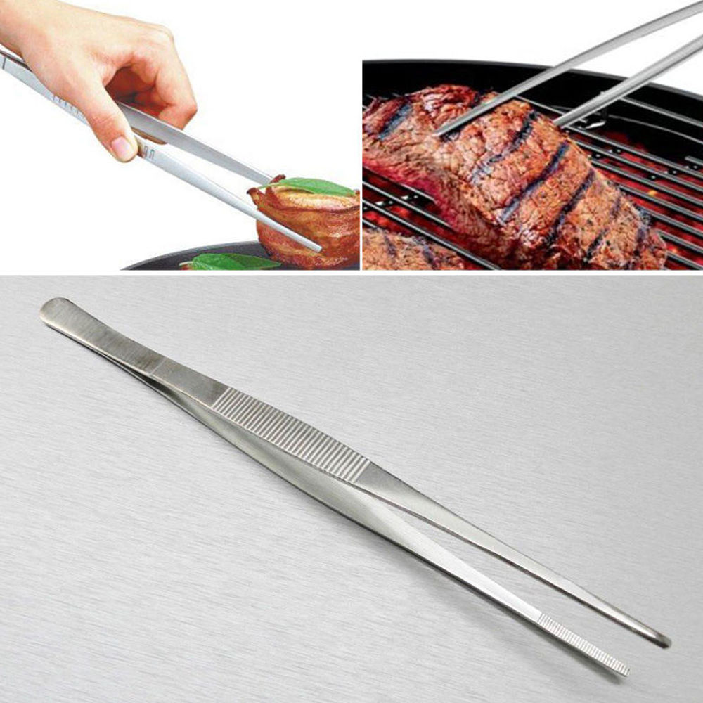 7 Sizes Barbecue Food Tong Stainless Steel Straight Tweezer Toothed Tweezer Home Medical Garden Kitchen BBQ Tool Hot