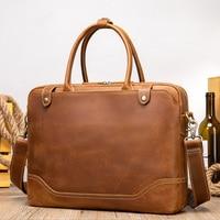 Maheubag Leather genuine leather shoulder bag briefcase bag hot fashion men handbags cowhide laptop bag 14 inch PC computer bag