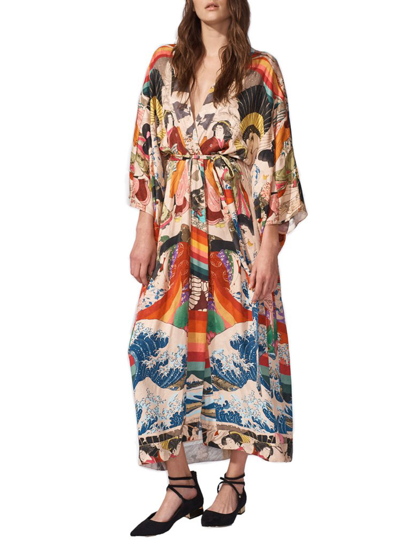 Ha3c30eda0d7a4f58b803e5415856b23eU - Bohemian Printed Half Sleeve Summer Beach Wear Long Kimono Cardigan Cotton Tunic Women Tops Blouse Shirt Sarong plage N796