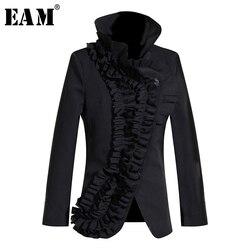 Женская куртка EAM, черная свободная ассиметричная куртка с длинным рукавом и воротником-стойкой, 2020 1M005