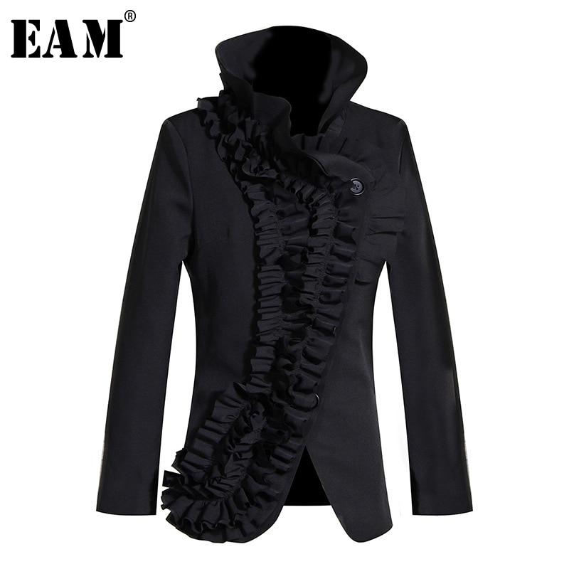 [EAM] Loose Fit Black Ruffles Split Asymmetrical Jacket New Stand Collar Long Sleeve Women Coat Fashion Spring Autumn 2020 1M005