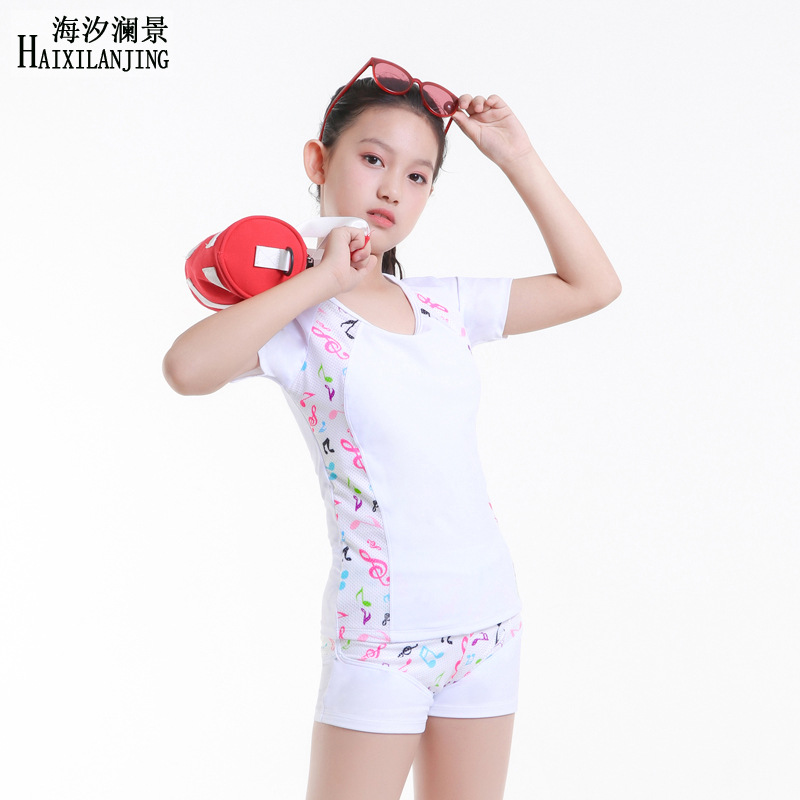 Hai Xi Lan Jing 2019 New Style GIRL'S Swimsuit Big Boy 12-15 Boxer Split Type Sun-resistant Half Sleeve Two-piece Swimsuits