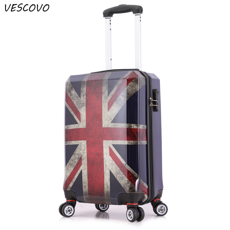 Vescovo 24inch British Style Rolling Luggage Spinner Women Suitcase Wheels Men Carry On Trolley Travel Case