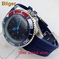 Роскошные 40 мм Miyota 8215 автоматические часы для мужчин водонепроницаемые светящиеся стальные черные циферблат синий керамический ободок тве...