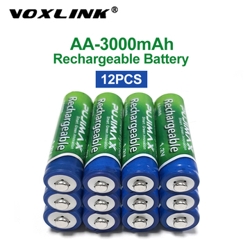 VOXLINK 12PCS AA Battery 1.2V 3000mAh rechargeable battery pre-charged recharge ni mh rechargeable battery For camera microphone voxlink aaa battery 1 2v 1100mah 8pcs rechargeable battery pre charged recharge ni mh rechargeable battery for camera microphone