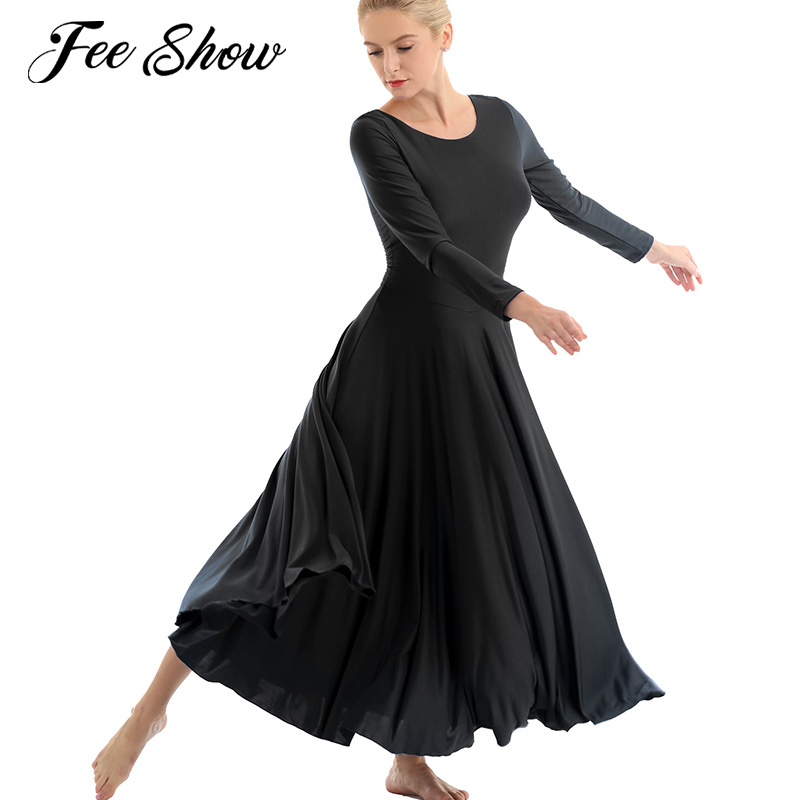 Feeshow Dance-Dress Praise Liturgical Adult Ballet Long-Sleeves Women Fit Polyester Round-Neck