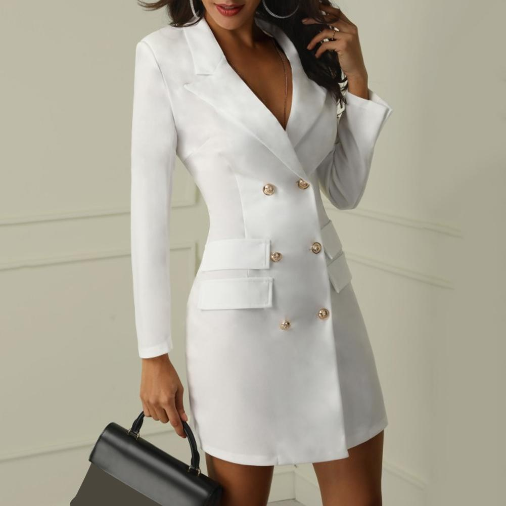 Vestidos Elegantes para mujer, blazer informal para oficina, vestido blanco y negro, traje ajustado, vestido sexy nuevo blanco