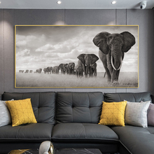 Black And White Animals Art African Wild Elephant Family Canvas Posters Prints Paintings Wall Picture