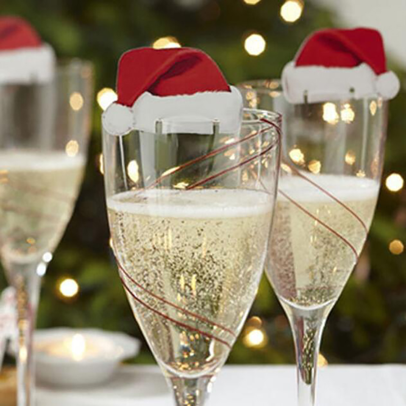 10Pcs/pack Xmas Christmas Decorations For Home Table Place Cards Christmas Santa Hat Wine Glass Decor New Year Party Supplies