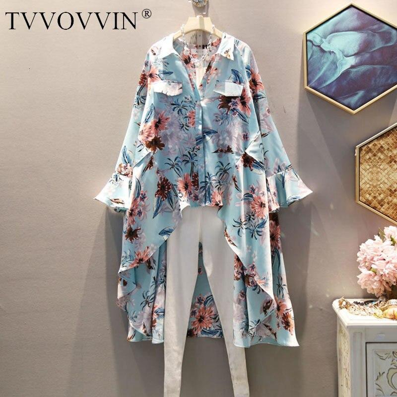 TVVOVVIN irrégulière imprimé Floral Blouse femmes mode plissé Flare manches unique poitrine 2019 automne longue minorité chemise X498