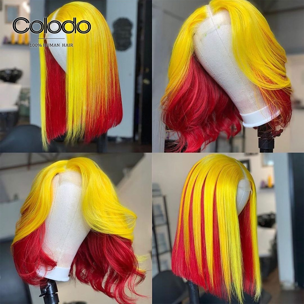 COLODO Pre Plucked Bob Wig Yellow Red Colored Human Hair Wigs Brazilian Remy Purple Pink Lace Front Human Hair Wigs For Women