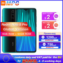 Global Version Xiaomi Redmi หมายเหตุ 8 Pro 6GB 64GB สมาร์ทโฟน 64MP Quad กล้อง Helio G90T OCTA Core 4500mAh NFC