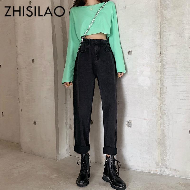 Straight Jeans Women High Waist Boyfriend Jeans Street Vintage Denim Pants Maxi Mom Jeans Plus Size Retro 2019 Jeans Black Blue