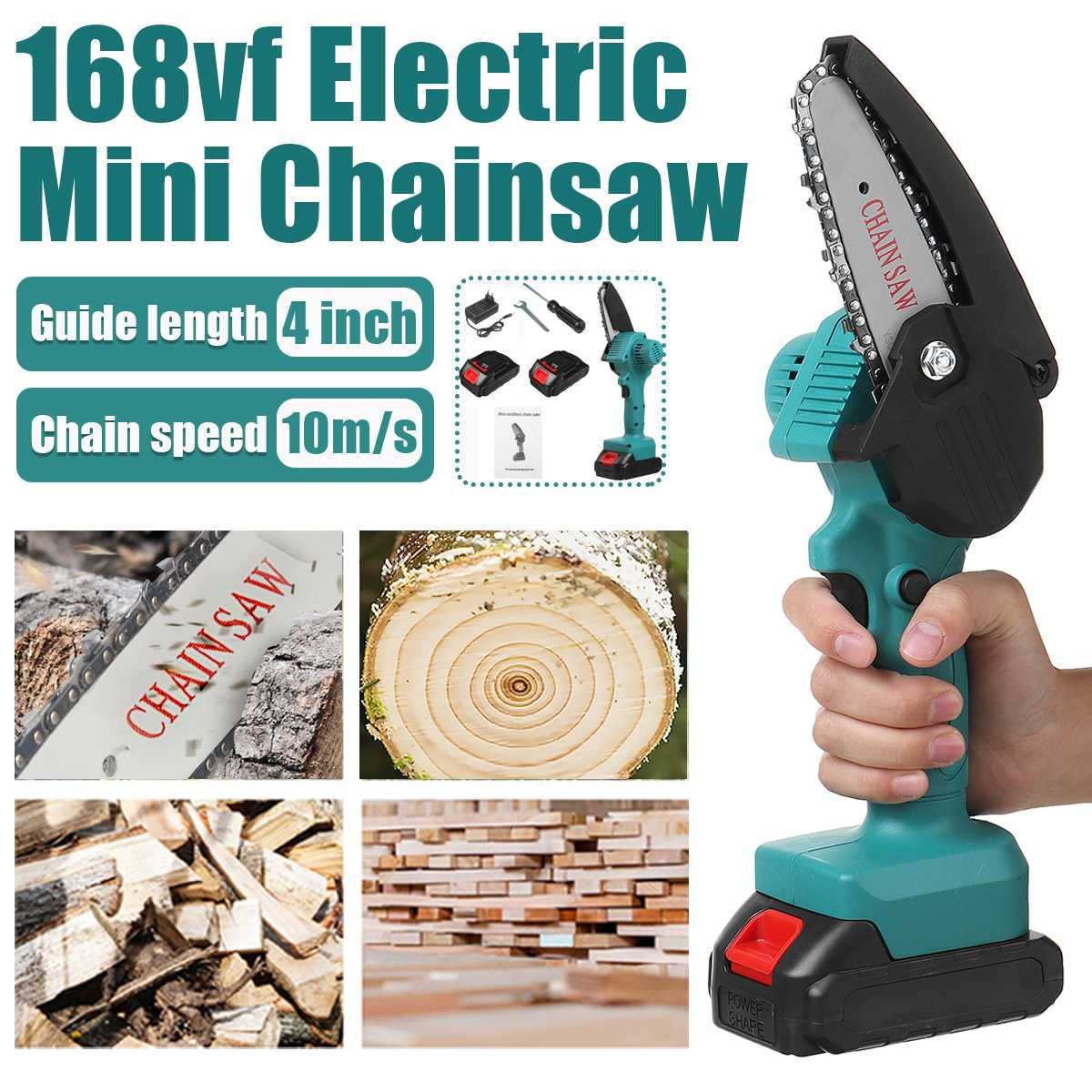 1500W 168VF Electric Chain Saw Lithium Battery Mini Pruning One-handed Garden Tool With Chain Saws Rechargeable Woodworking Tool