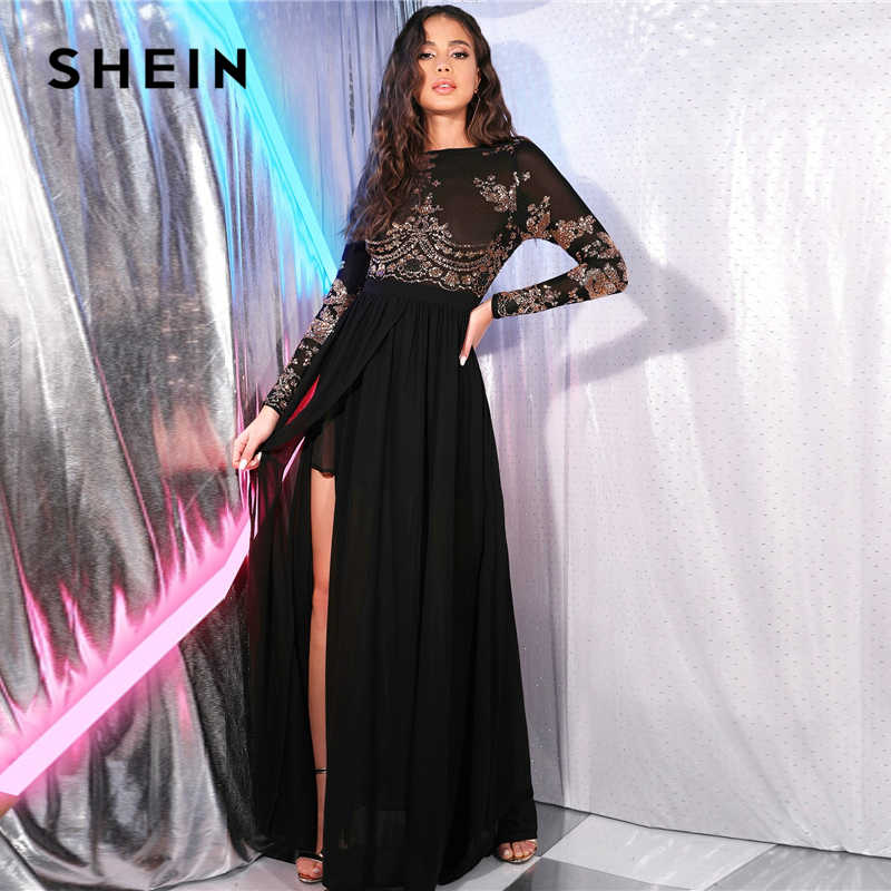 SHEIN siyah aç geri pullu Mesh korse seksi bölünmüş uyluk elbise kadın bahar uzun kollu elbise çiçek gece dışarı parti Maxi elbiseler