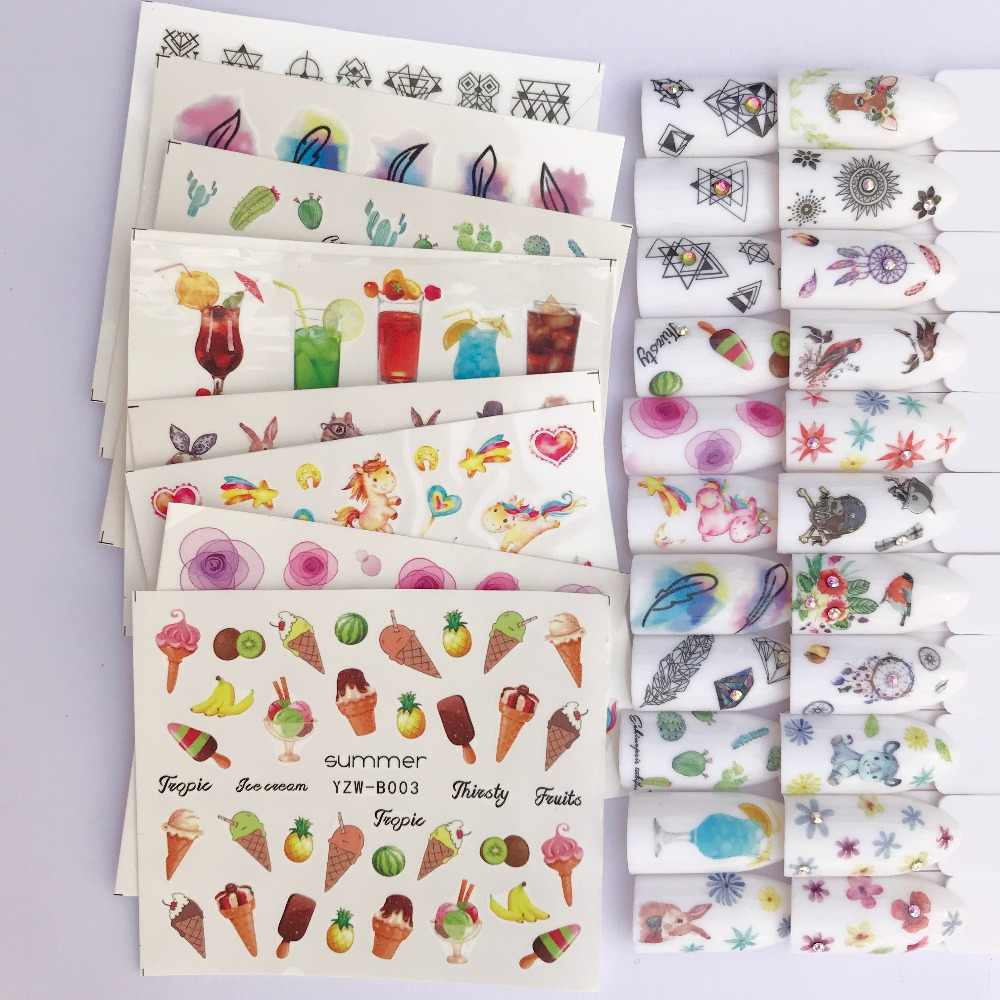 1 PC Blooming Nail Sticker Flower Water Decals Peony Cute Animal Deer Wraps Sliders for Nail Art Decoration Manicure