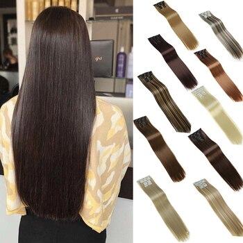 DIANQI-extensiones de cabello negro natural, sintético, 16 clips, pelo largo y liso, clip de pelo falso en la extensión del cabello