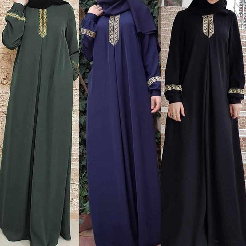 Women Plus Size Print Abaya Jilbab Muslim Maxi Dress Casual Kaftan Long Dress lace abaya muslim clothes hijab(China)