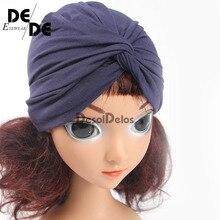 Мода детские Hat сплошной тюрбан платок для девочки эластичный шапки для девочек шапка с бантом младенческой аксессуары