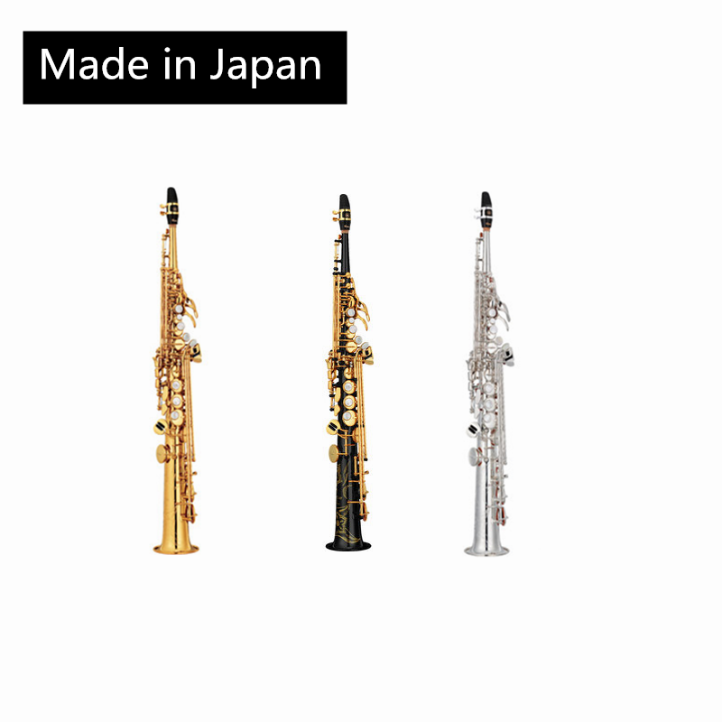 JM Made in Japan 82Z Brass Straight Soprano Sax Saxophone Bb B Flat Woodwind Instrument Natural Shell Key Carve Pattern