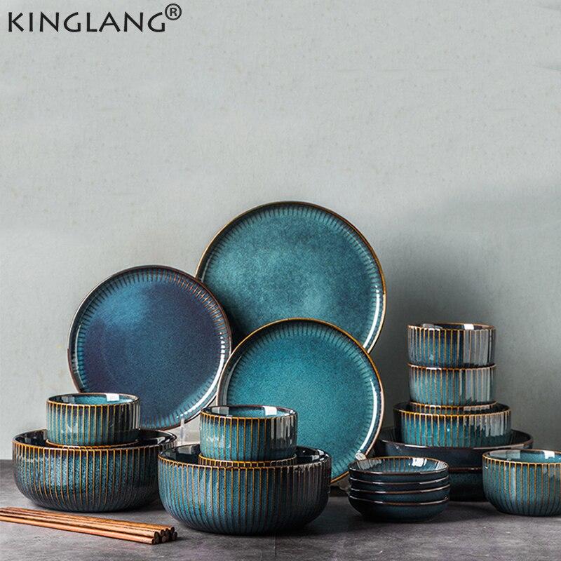 KINGLANG service de table nordique bleu | Four vitré céramique riz salade plat rond assiette de table, service de vaisselle