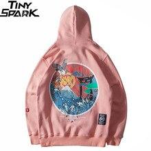 Harajuku Japanse Geborduurde Kranen Fleece Fluwelen Hoodie Streetwear Mannen 2020 Hip Hop Sweatshirt Winter Hoodie Dikker