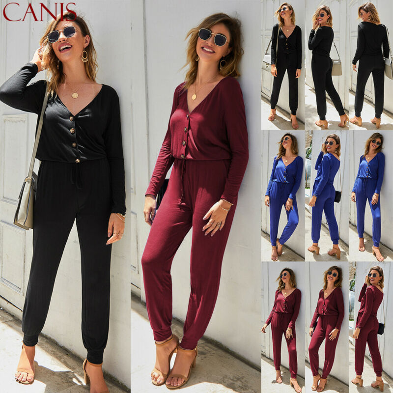 Women's Fashion Jumpsuit Romper Bodycon Playsuit Clubwear Long Trousers Party US Pants Solid Casual Black Wine Red Blue