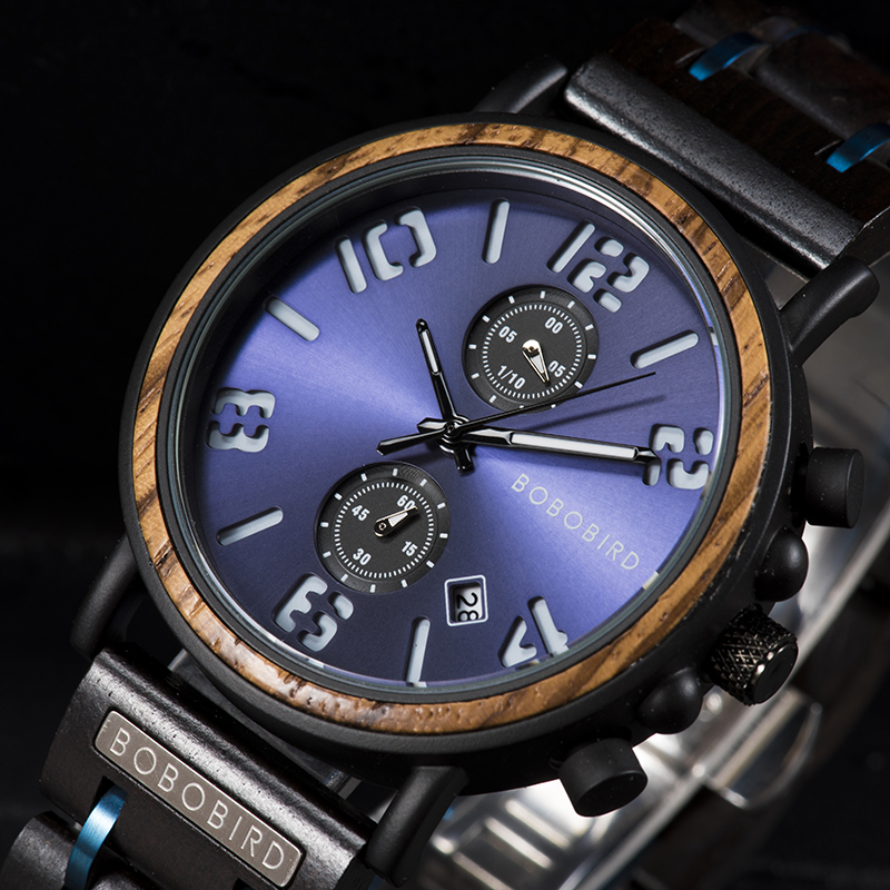 Relogio Mascu New BOBO BIRD Wood Watch Men Waterproof Military Watches Luminous Hand Clock With Wooden Box Gift часы мужские