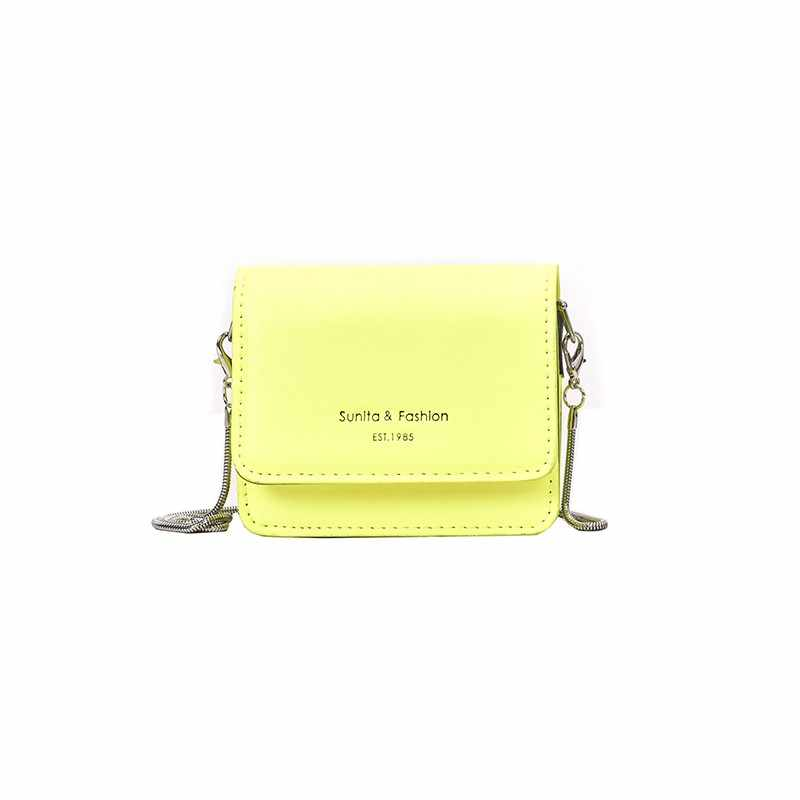 2019 Wanita Kasual Mini Tas Selempang Hijau Neon Kuning Merah Muda Mini Messenger Cross Tubuh Tas Wanita Tas Tangan Rantai Messenger tas