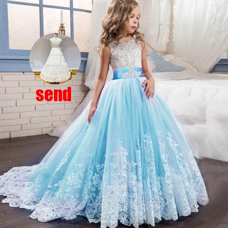 Платье с цветочным узором для девочек на свадьбу; вечерние платья; vestidos de primera comunion; платье для первого причастия; Пышное Бальное платье для детей; цвет белый - Цвет: sky blue