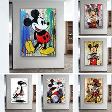 Disney Colourful Mickey Mouse Painting Graffiti Wall Street Art Picture Canvas Paintings Posters Prints for Living Room Decor