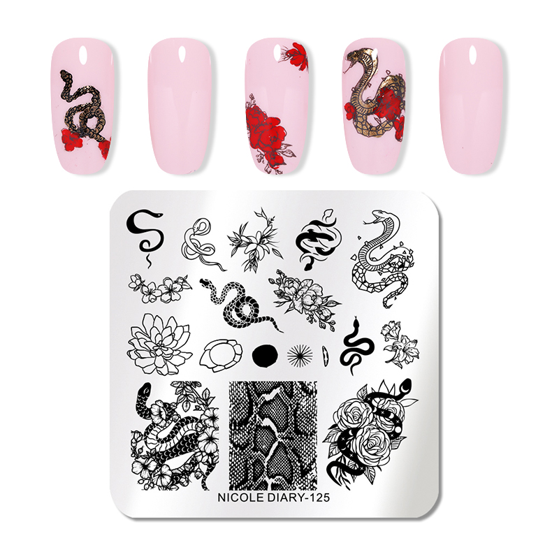 NICOLE DIARY Nail Stamping Plates Halloween Marble Flowers Snake Image Printing Plates Geometric Stencil Nail Art Stamp Tool