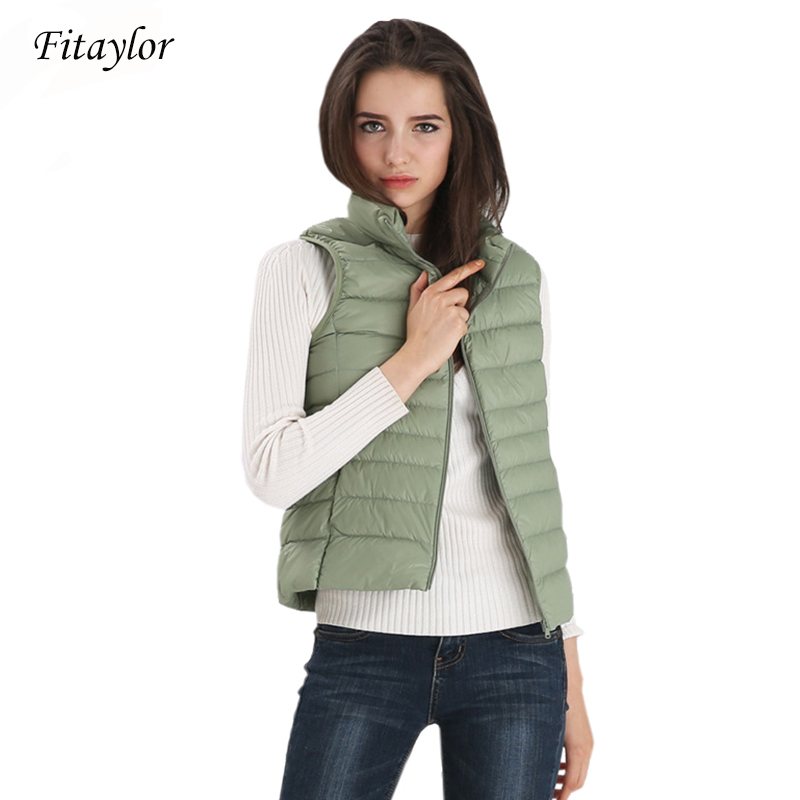 Fitaylor New Women Vests Winter Ultra Light White Duck Down Vest Female Slim Sleeveless Jacket Women Windproof Warm Waistcoat