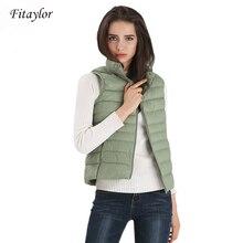 Fitaylor New Women Vests Winter Ultra Light White Duck Down Vest Female Slim Sle