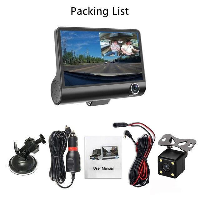"Amprime 4"" three way car dvr fhd three lens video recorder camera 170 wide angle dash cam g-sensor and night vision camcorder"