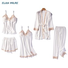 Sexy ice pajama lady five-piece set of exquisite embroidery with chest cushion home dress suit imitation silk pajama satin(China)