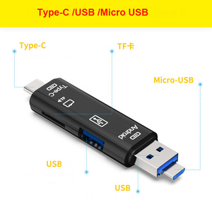 Image 1 - 3 In 1 Type c Micro USB OTG Card Reader Flash Drive High speed USB2.0 Universal TF/SD Card for Phone Computer Extension Headers