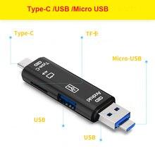 3 In 1 tip c mikro usb OTG kart okuyucu Flash Sürücü Yüksek hızlı USB2.0 Evrensel TF/SD Kart telefon Bilgisayar için Uzatma Başlıkları