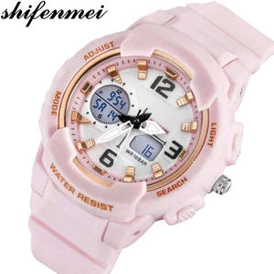 Shifenmei Women Watch Quartz-Clock Digital Pink Sports Waterproof Brand Luxury Meski
