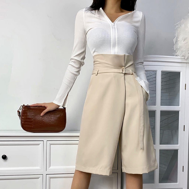 Summer Women's Knee-length Pants Capris With Belt High Waist Wide Leg Female Trousers Fashion Casual Khaki Office Lady Breeches