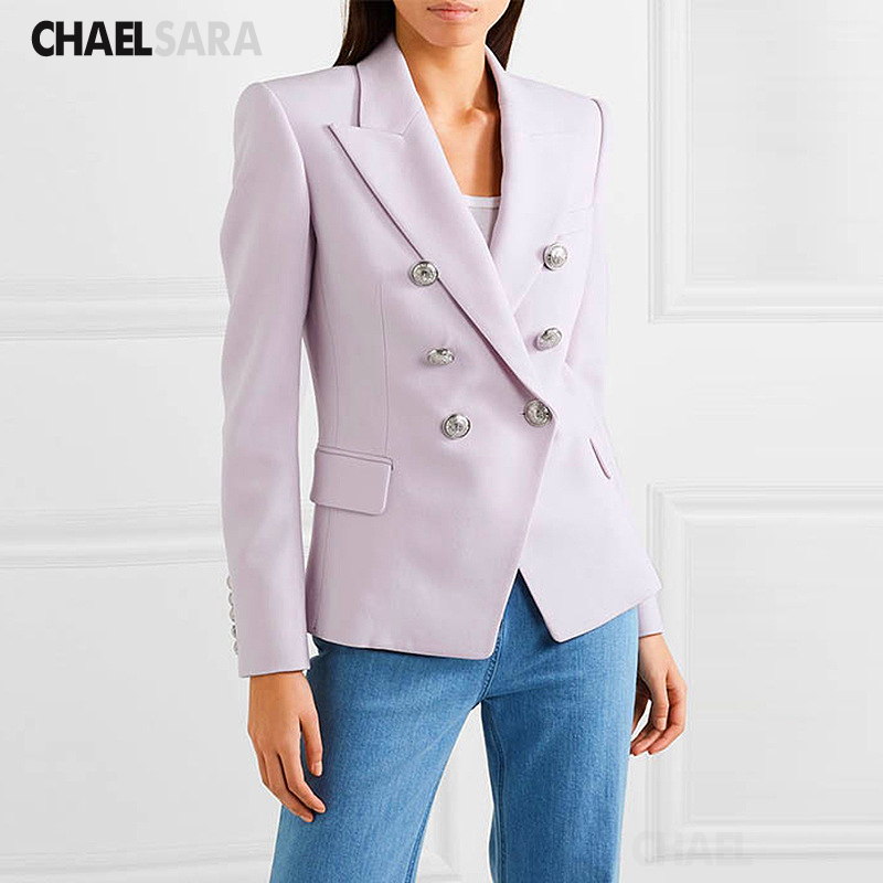 Spring Autumn Solid Print Blazer Jacket Women Elegant Double Breasted Long Sleeve Notched Office Lady Suit Top
