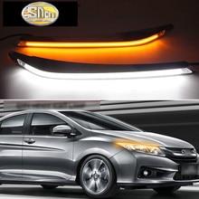 For Honda City 2015 ~ 2018 Car Styling LED Headlight Brow Eyebrow Daytime Running Light DRL With Yellow Turn signal Light