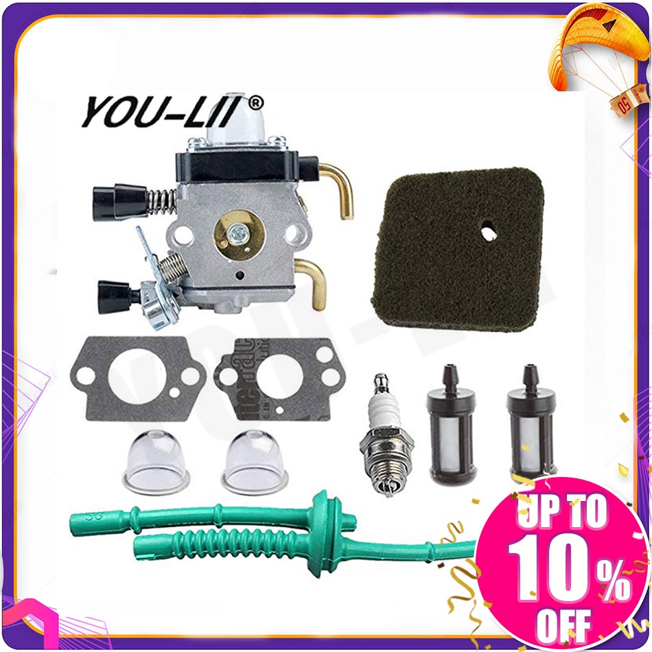 YOULII C1Q-S97 <font><b>Carburetor</b></font> with Air Filter Fuel Line Kit for <font><b>STIHL</b></font> <font><b>FS38</b></font> FS45 FS46 FS55 KM55 HL45 FS45L FS45C FS46C FS55C image